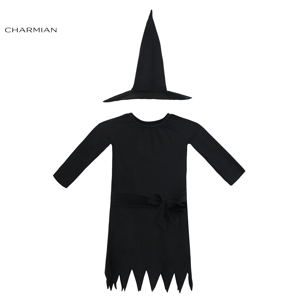 Charmian Black Witch Halloween Costumes for Girls Kids Masquerade Party Fancy Dress with Belt Carnival Cosplay Costume Clothing