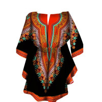 Fashion 100% Wax Fabric Dashiki Print Dress African Women 1/2 Sleeves Slit Neck Cinchered Cotton Top For Lady 4XL 5XL Oversized