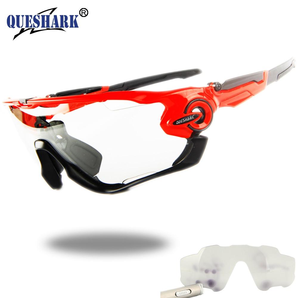 Queshark Photochromic Cycling Sunglasses Bike Eyewear Bicycle Glass MTB Road Bike Polarized New Design 4 Lens