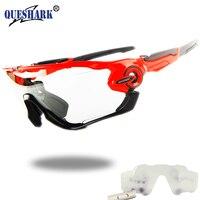 Queshark photochromic Ciclismo Gafas de sol bicicleta gafas Bicicletas vidrio MTB Road Bike polarizado nuevo diseño 4 lente