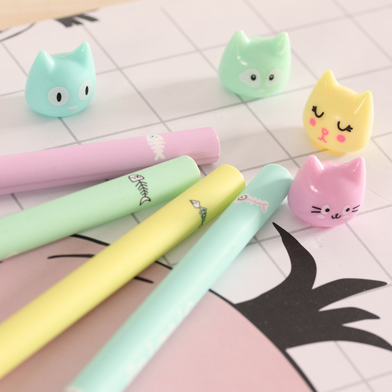 0 5mm Cute Kawaii Fish and cat Gel Pen Signature Pens Escolar Papelaria For Office School Writing Supplies Stationery Gift in Gel Pens from Office School Supplies