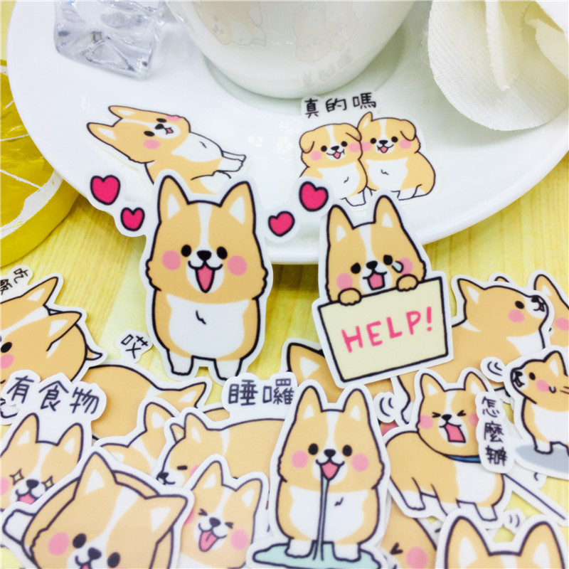 40 Pcs Cute Text Dog Stickers For Car Styling Bike Motorcycle Phone Laptop Travel Luggage Cool Funny Sticker Bomb Decals