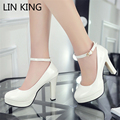 LIN KING Summer Style Women Shoes Ankle Strap Pumps Shallow Mouth Cut-Outs Woman Dress Shoes Round Toe High Heels Pumps