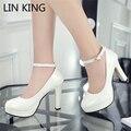 LIN REY Style Women Shoes Zapato con Cierre Bombas Boca baja de Verano Mujer Recortes Zapatos de Vestir Del Dedo Del Pie Redondo Bombas de los tacones