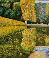 Hand painted canvas art Schonbrunn Park Gustav Klimt oil painting Waterside Scene canvas wall pictures for living rooms