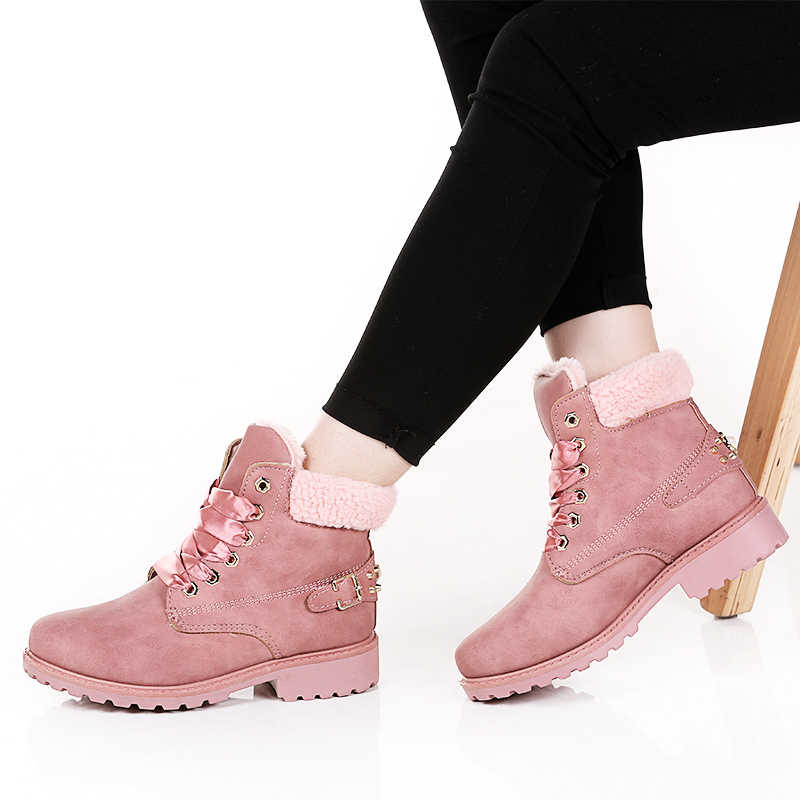 LAKESHI Women Ankle Boots Leather Ankle Boots Women Shoes Pink Warm Women Boots Rivet Winter Boots Silk Lace Up Ladies Shoes