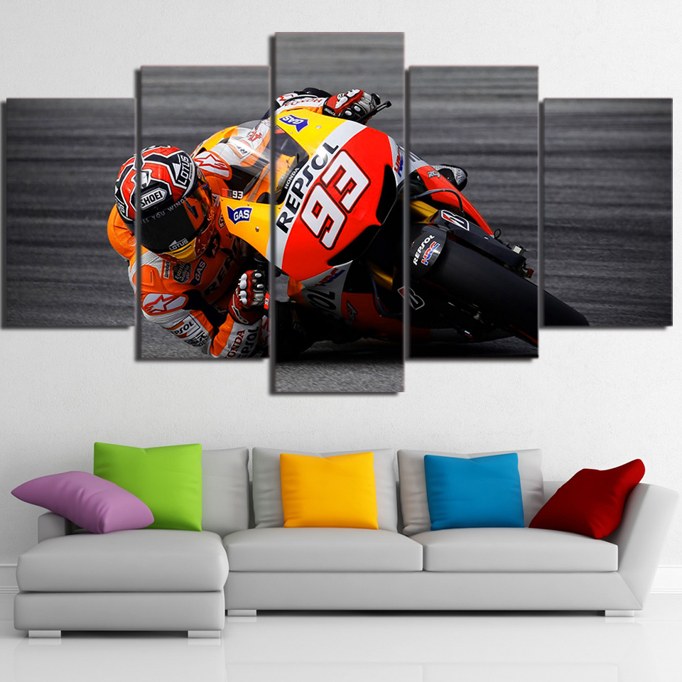 Modern Canvas Painting Framework HD Print Wall Art Pictures 5 Pieces Sports Motorcycle Racing Poster Living Room Home Decoration