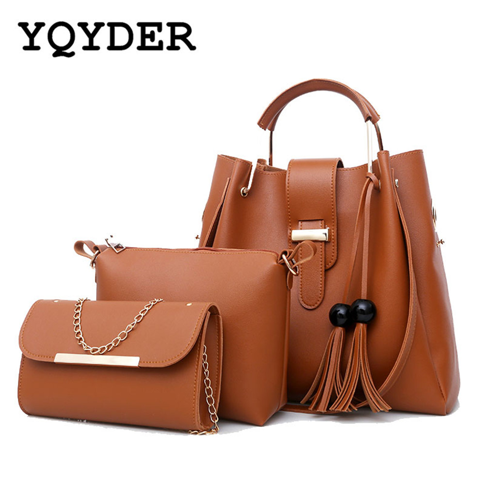 где купить Women 3Pcs/Set Handbags PU Leather Shoulder Bags Casual Tote Bag Tassel Metal Handle Designer Composite Messenger Bag Purse Sac дешево
