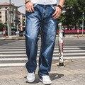 Большой Размер W30-W46 Широкую Ногу Свободные Джинсы Мужчины Скейтборд Брюки Мужские Мешковатые Хип-Хоп Джинсы Большая и Толстая Одежда