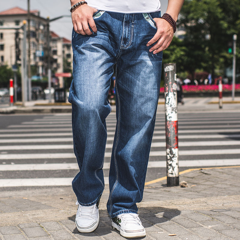 ФОТО Large Size W30-W46 Wide Leg Loose Blue Jeans Men Skateboard Pants Mens Baggy Hip Hop Jeans Big and Tall Clothing