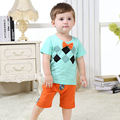 Summer Baby Boys Clothing Set,Fashion Children's Short-Sleeve Tops + Short Pants,Cotton Printed Kids Casual Wear(6 Months-3 Yrs)