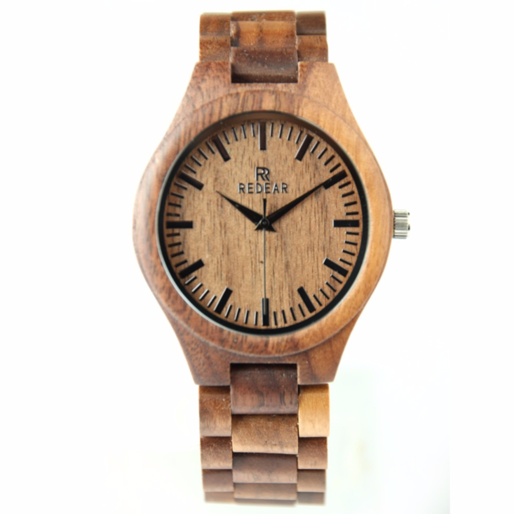 New REDEAR Mens Watches Top Brand Luxury Walnut Wood Wristwatch Hand Make Wooden Watches Japan Quartz Movement Relogio Masculino redear top brand wood watch men women wooden watches japan miyota fashion watch leather clock relogio feminino relogio masculino