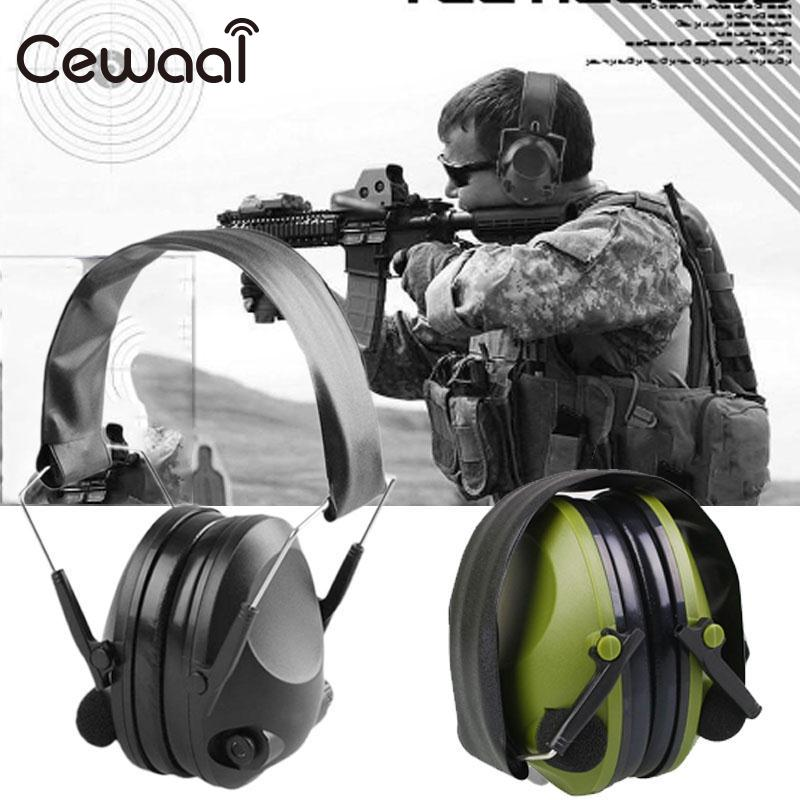 Cewaal зеленый открытый защиты для наушников тактический Анти-Шум влияние электронных наушник раза слух Спорт Охота Наушники для женщин