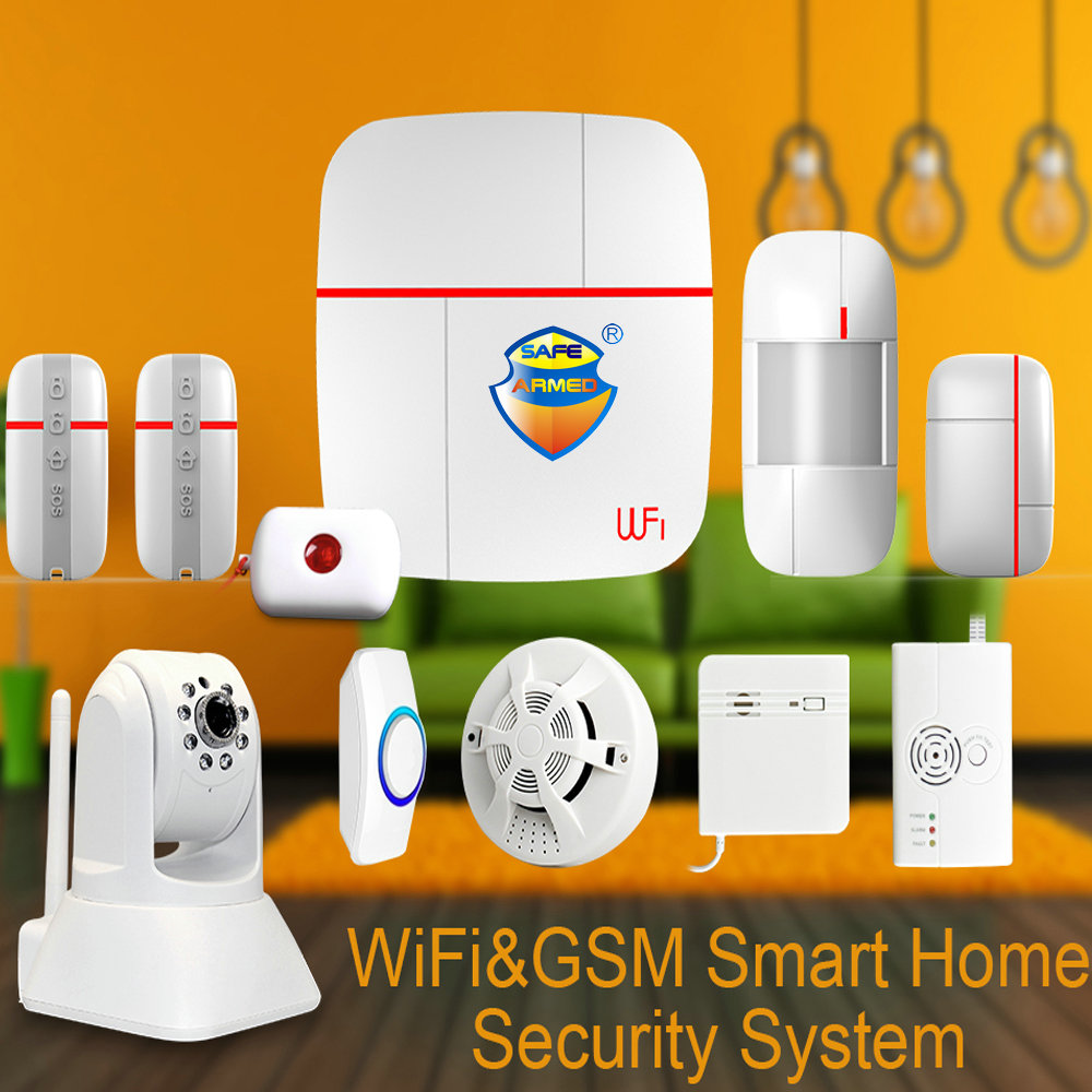 (1set) Vcare WIFI GSM Smart Home Alarm Security System with Wireless Door Gas Water Sensor & SOS Button & HD PTZ IP Camera Ver C wireless alarm accessories glass vibration door pir siren smoke gas water sensor for home security wifi gsm sms alarm system