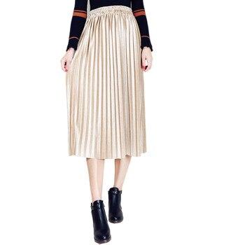 Women Velvet Long Skirt Autumn Winter Vintage Velour Pleated Skirts Female Ladies Fashion Army Green High Waist skirts Юбка