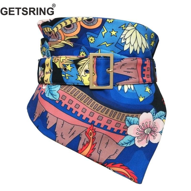 GETSRING Women Cummerbunds Irregular Wide Waist Belt Waistband Cotton Adjustable Blue Printing Fashion Vintage Betls Waistbands