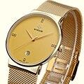 Men Watches Brand Luxury Ultra Thin Date Male Steel Strap Golden watchband Casual Quartz Watch Men Sports Wrist Watch Waterproof