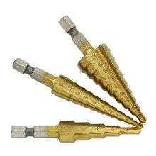 3 ШТ. HSS Стали Большой Шаг Конуса Сверла Титан Набор Бит Отверстие Cutter 4-20 мм 4-12 мм 3-12 мм