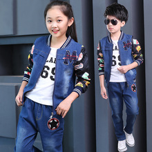 Children's suits 2018 spring new boys and girls cowboy suits cuhk fashion kids denim clothing sets baby clothes jean body suit new 2017 spring boys letter patch denim clothing sets 3pcs kids clothes sets baby boys denim suit kids jeans
