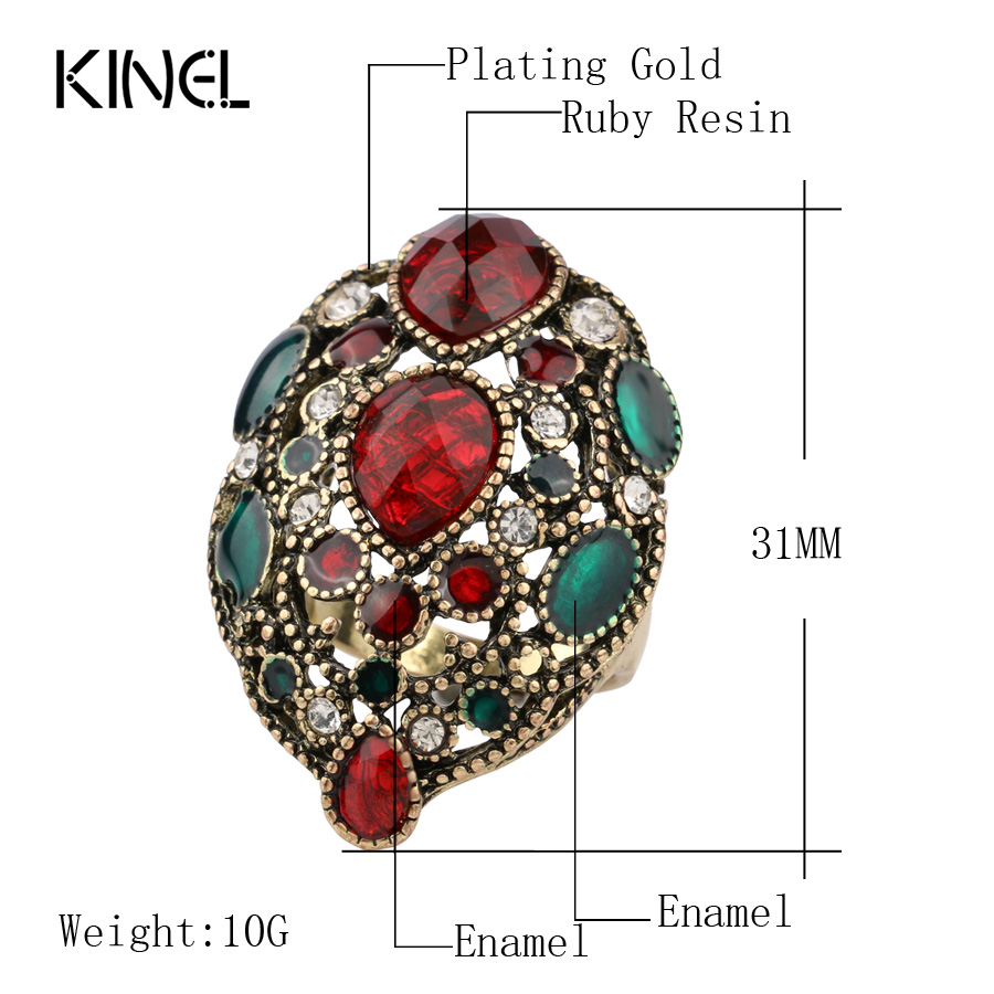 Kinel Fashion Turkey Vintage Nakit Veliki emajlirani prstenovi za - Modni nakit - Foto 2