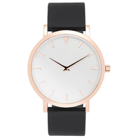 Stainless Steel Rose Gold Tone Case Watches Simple Design, 3D Index White Face Watches Black Leather