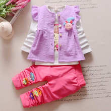 Spring Autumn Baby Girls Clothes Long Sleeved T-shirt+Coat+Pant 3pcs Outfit Suit Newborn Clothes Kids Infant Girls Clothing