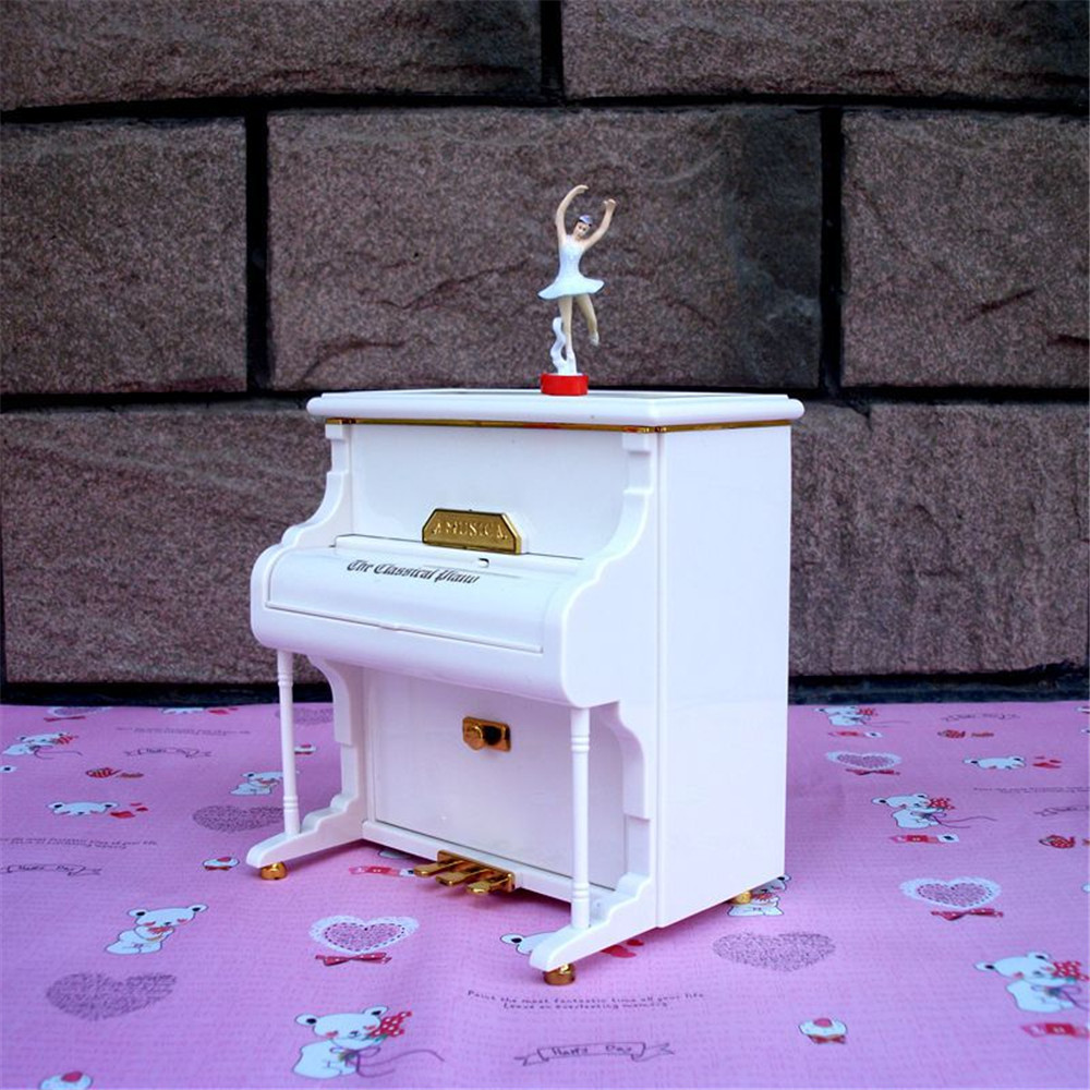 Cosplay white Upright piano music box Ballet rotating girl music box with jewelry storage box Girl christmas present gifts