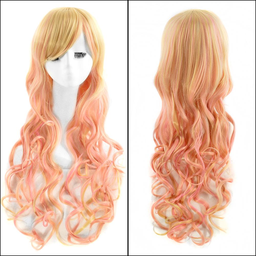 80CM Lolita Wig Orange Ombre Beige Long Curly Clip-In Ponytails Full Bangs Cosplay Party Wigs With