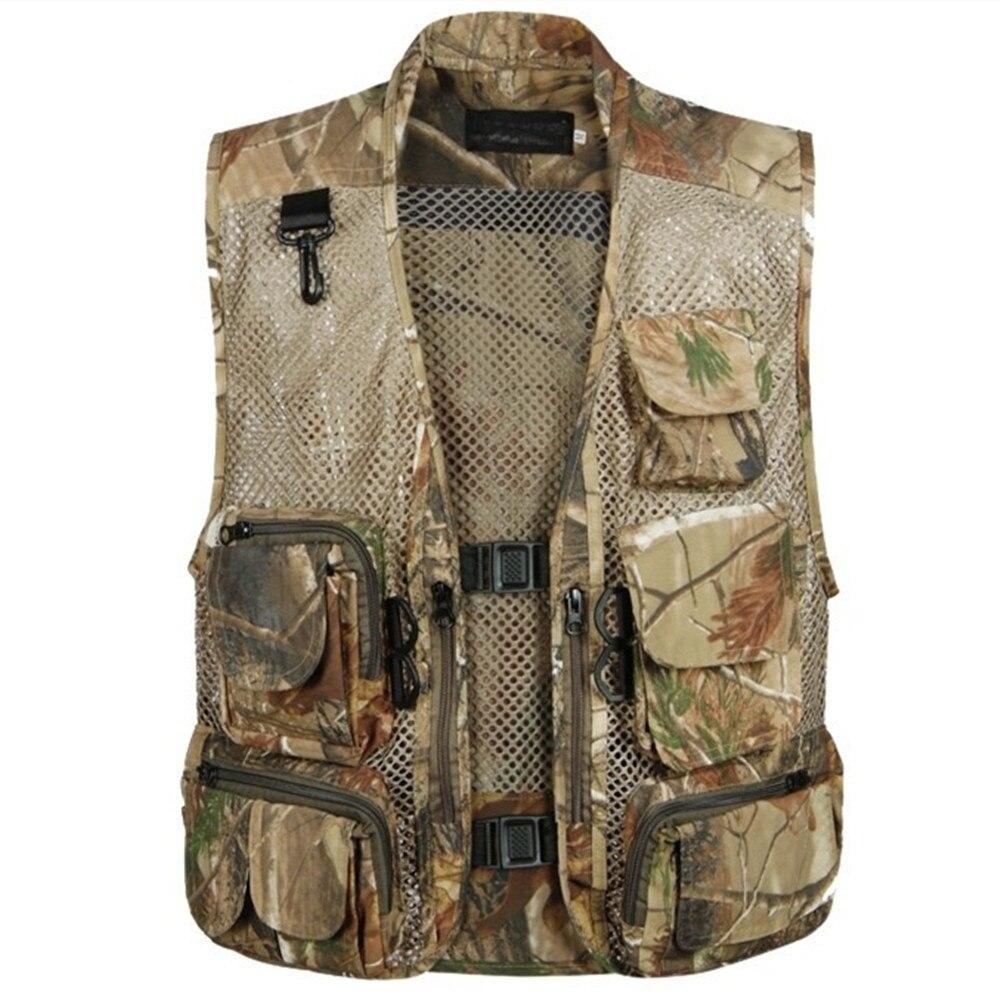 Men Sleeveless Multi Pocket Fly Mesh Waistcoat