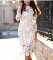 Summer Women White Lace Dresses Bodycon Floral Crochet Lace Long sleeve Midi Elegant Sheath Pencil Party Dresses