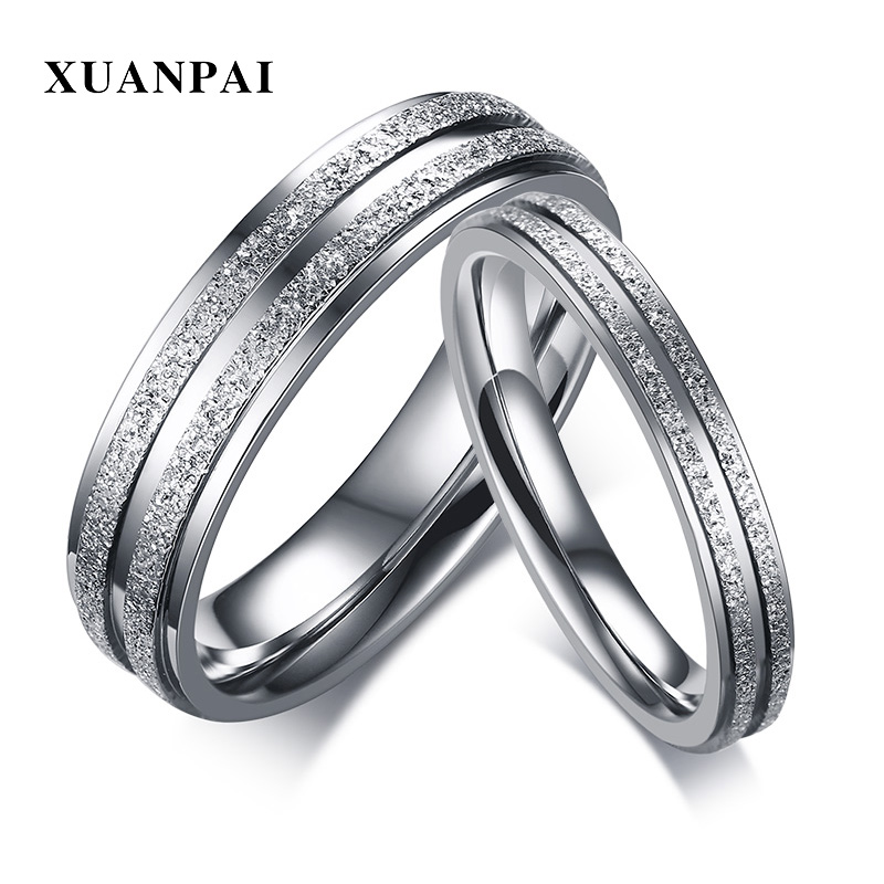 XUANPAI Forever Love Engagement Ring for Women Men Stainless Steel Wedding Bands Couple  ...