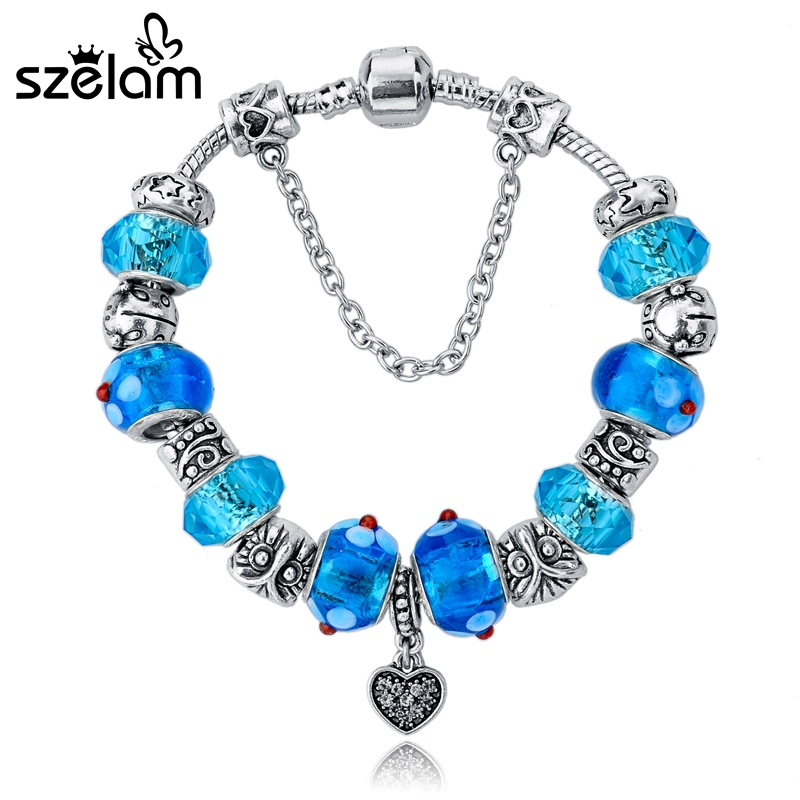SZELAM 2019 Fashion Silver Plated Snake Chain Heart Pendant Bule Glass Beads DIY Strand Bracelets for Women SBR140734