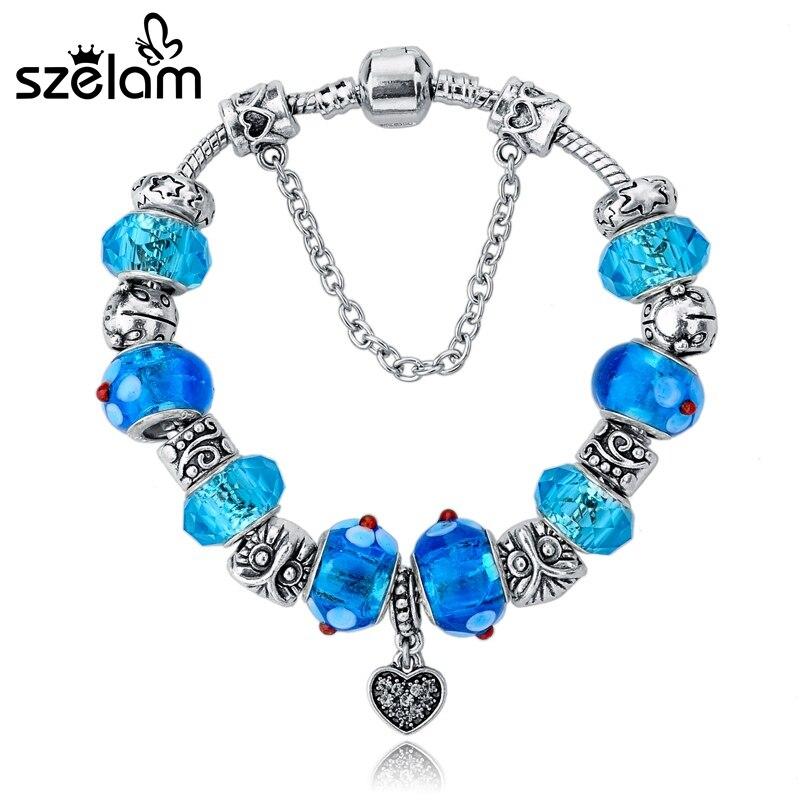 SZELAM 2019 Fashion Silver Plated Snake Chain Heart Pendant Bule Glass Beads DIY Strand Bracelets for Women SBR140734