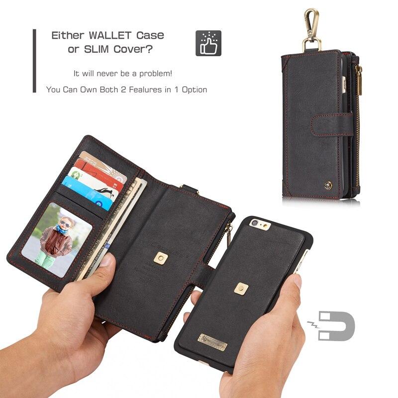 Caseme Сумочка для iPhone 6 6 S Съемная 2in1 металлический зажим ретро Разделение кожаный бумажник чехол для iPhone 6 6 S Васит сумка
