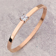 Fashion rose gold zircon bracelet for women stainless steel oval opening couple men accessories jewelry