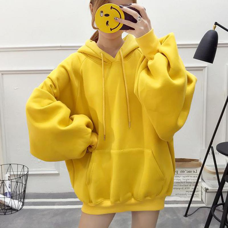 Winter Clothes Women Sweatshirt 2019 Casual Solid Color Harajuku Fleece Pullovers Long Sleeve Drawstring Hoodies Thicken Coat