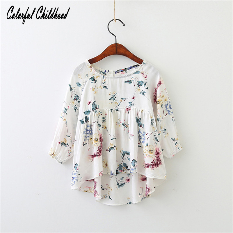 2-7Yrs Kids Long Sleeve floral Cotton shirt Children Clothing Baby Girls Tops casual toddler baby Clothes Spring summer