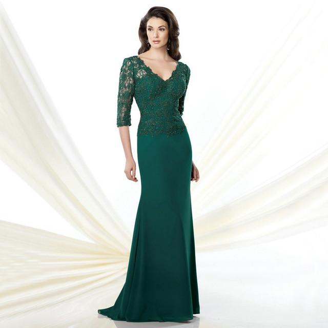 Verde 2017 Mãe Dos Vestidos de Noiva Sereia Com Decote Em V 3/4 Mangas Lace Chiffon Longo Mãe Vestidos Vestidos de Festa de Casamento