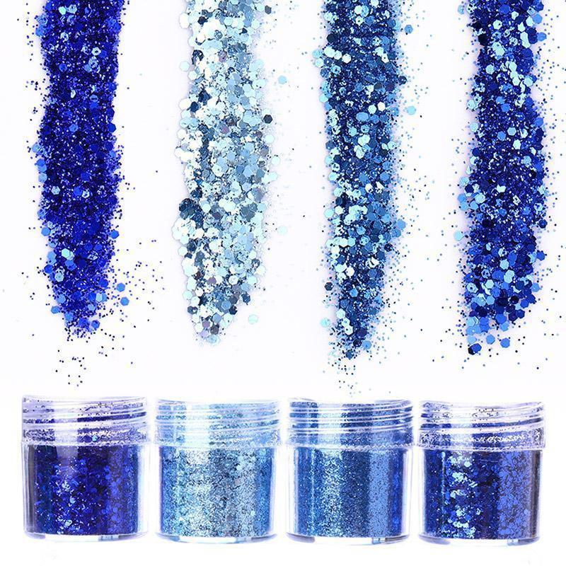 10 ml/box Mix Prego Pó Colorido Azul/Vermelho/Ouro/Verde Prego Pó Glitter Lantejoula DIY Pó Holográfico para Nail Art Glitter # MA0