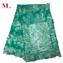 ML Одежда высшего качества белый 3d кружева из сетчатой ткани с бисером и жемчугом Свадебные тюль ткань Стразы Вышивка бисером hq83