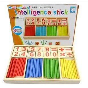 Montessori Educacional Brinquedo De Madeira criança digital blocos de construção de quebra-cabeça jogo de aprendizagem varas brinquedos