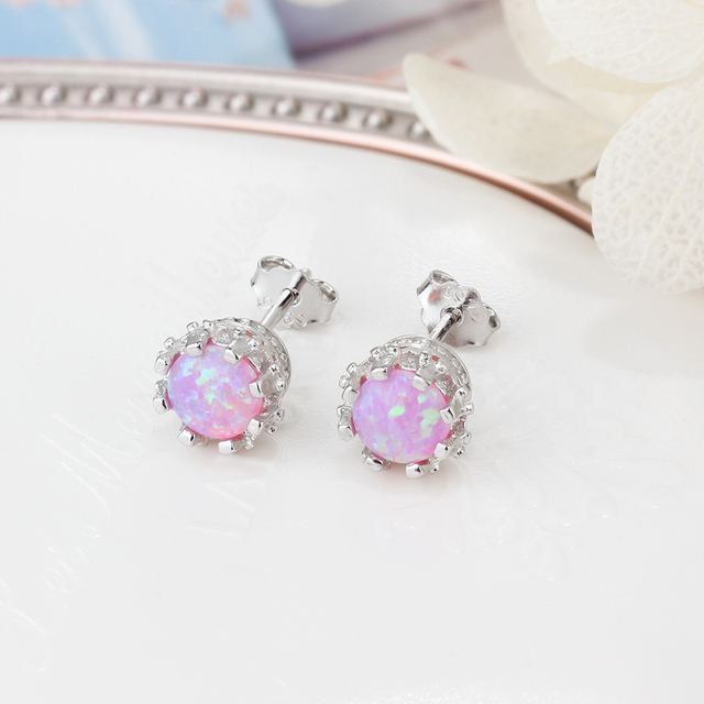 925 Sterling Silver Flower Stud Earrings Round Created Blue Pink White Opal Earrings for Women Party.jpg 640x640 - 925 Sterling Silver Flower Stud Earrings Round Created Blue Pink White Opal Earrings for Women Party Fine Jewelry (Lam Hub Fong)