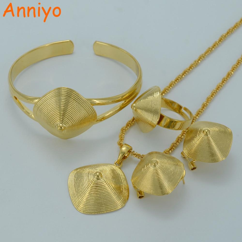 Anniyo Bangle Jewelry-Sets Ethiopian Eritrean Earrings Pendant Necklace Gold-Color Bride--002201
