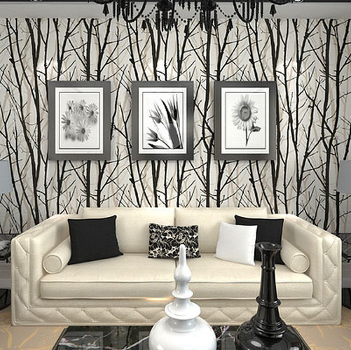 Textured Tree Forest Woods Wallpaper Pvc Wall Paper Roll For Tv