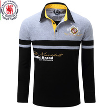 Europe Size New Brand Mens Solid Long Sleeve Polo Shirt Autumn Full Sleeve Warm Shirt Casual Printing Tops Jeans Blue  057