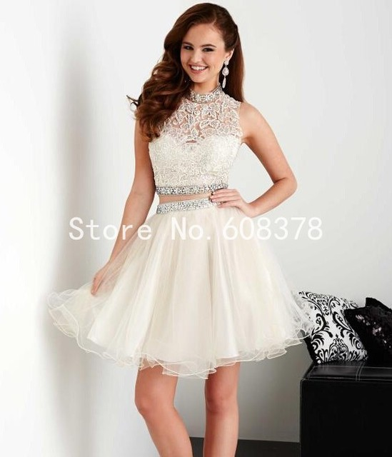 Cute 8th Grade Graduation Dresses 2015 Summer High Neck Two Piece