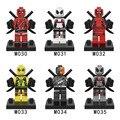 6 unids/lote Súper Héroes Deadpool Deadpool rojo blanco Minifig Wilson Mutantes de Marvel Building Blocks Juguetes Compatible legoe