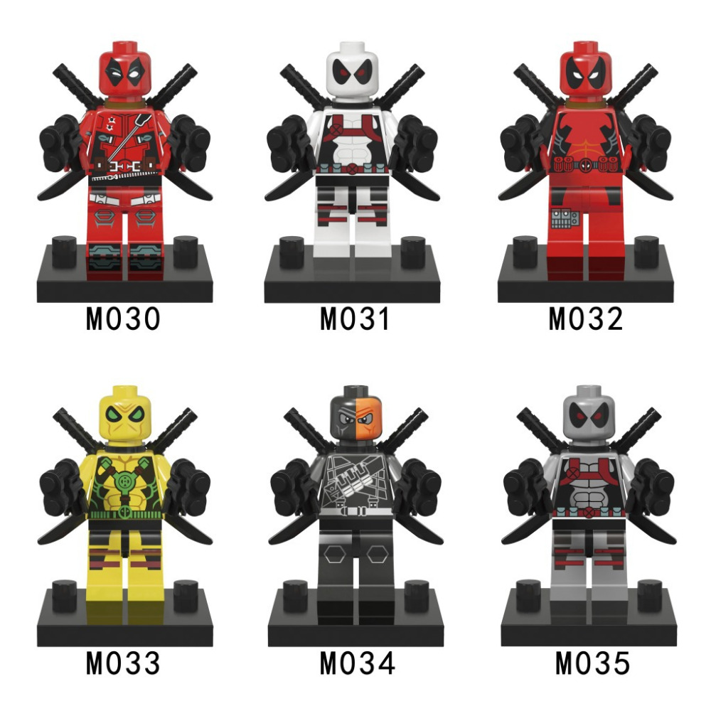 6pcs/lot Super Heroes red Deadpool white Deadpool Minifig Wilson Mutants Minifigure Marvel Building Blocks Toys Compatible legoe