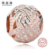 Shipinwei Fashion 925 Sterling Silver Gold Color Pave Ball Charms Clear CZ Beads Fit Original Pandora