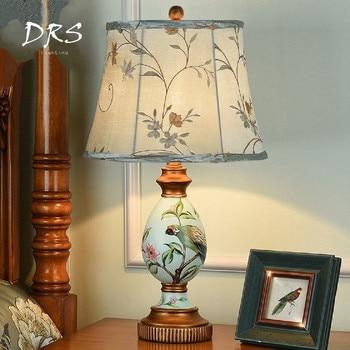 American Garden LED Table Lamp Modern Living Room Bedroom Bed Head Style Desk Lamp Simple Retro Deco Resin Table Lights